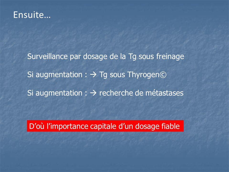 Ensuite… Surveillance par dosage de la Tg sous freinage