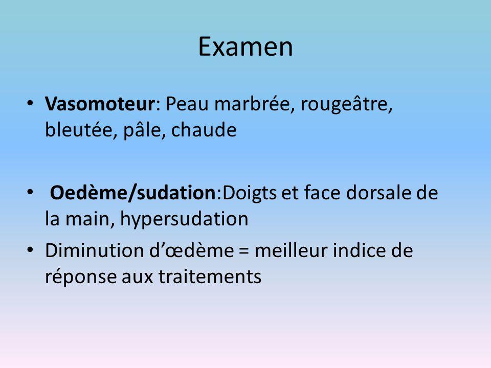 Examen Vasomoteur: Peau marbrée, rougeâtre, bleutée, pâle, chaude