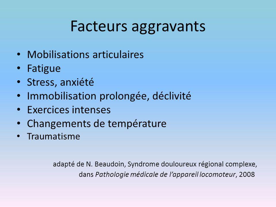 Facteurs aggravants Mobilisations articulaires Fatigue Stress, anxiété