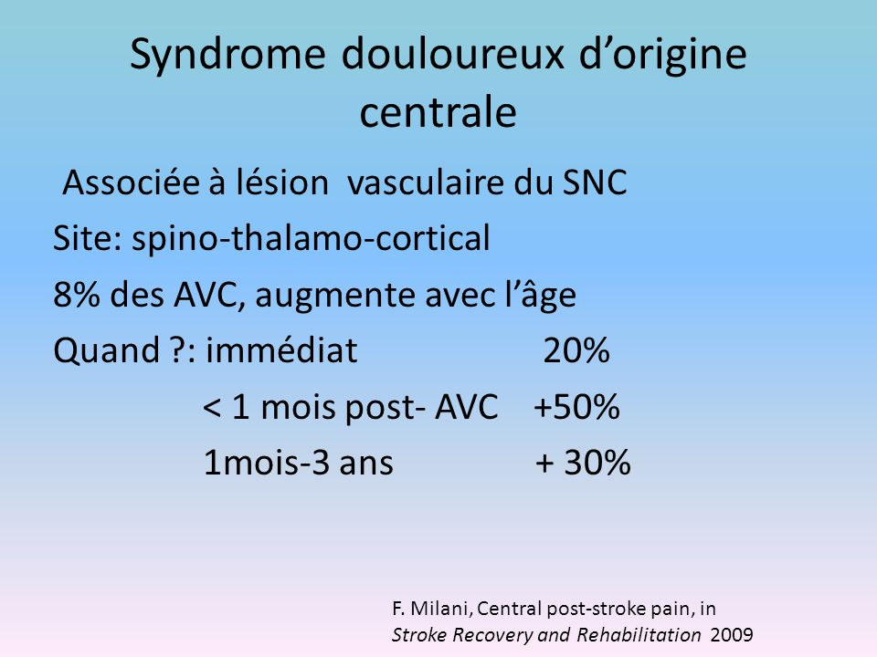 Syndrome douloureux d'origine centrale