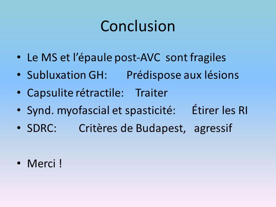 Conclusion Le MS et l'épaule post-AVC sont fragiles