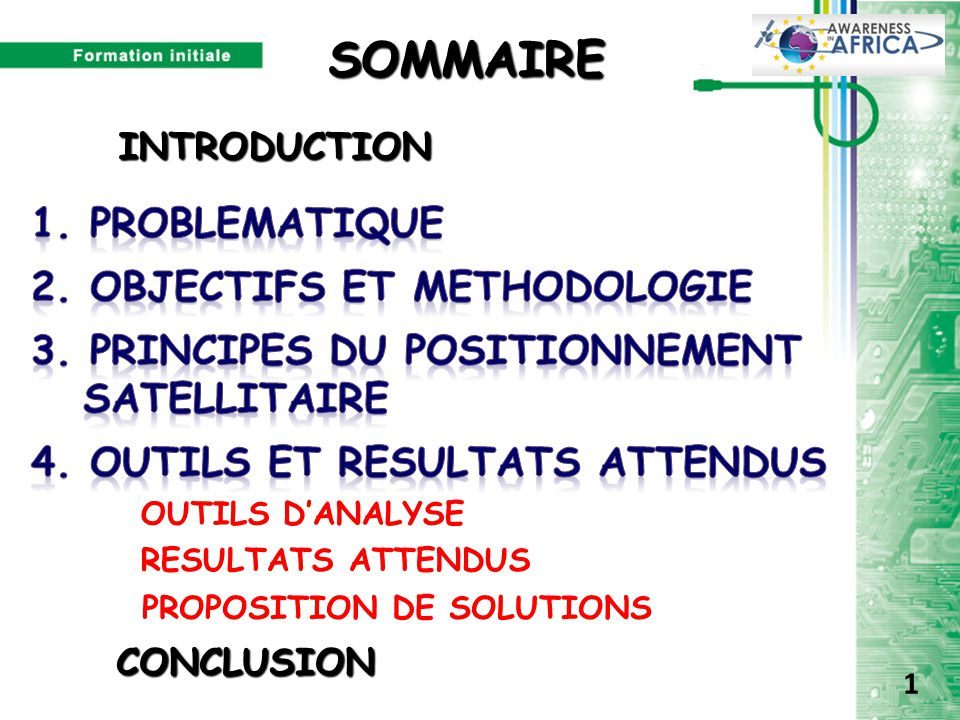 SOMMAIRE 1. PROBLEMATIQUE 2. OBJECTIFS ET METHODOLOGIE