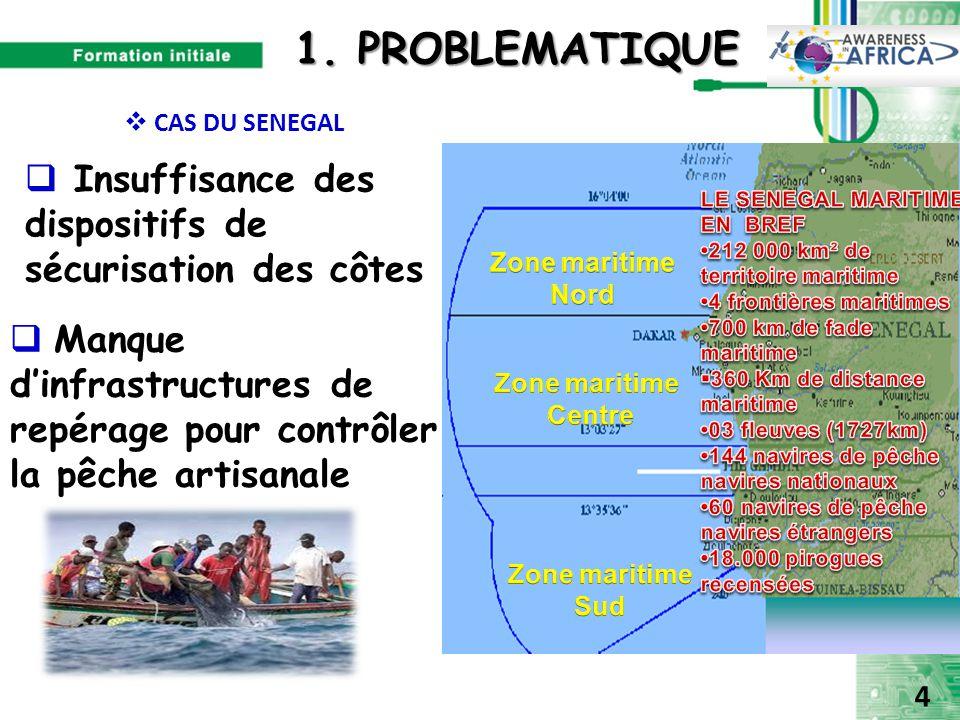1. PROBLEMATIQUE CAS DU SENEGAL. Insuffisance des dispositifs de sécurisation des côtes. LE SENEGAL MARITIME EN BREF.