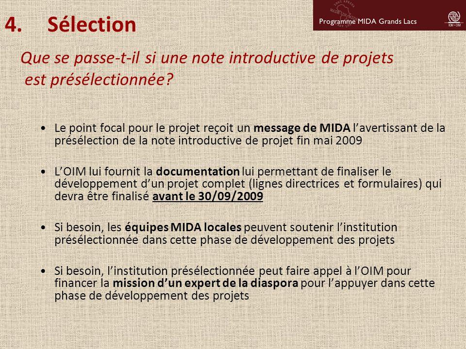 Sélection Que se passe-t-il si une note introductive de projets est présélectionnée