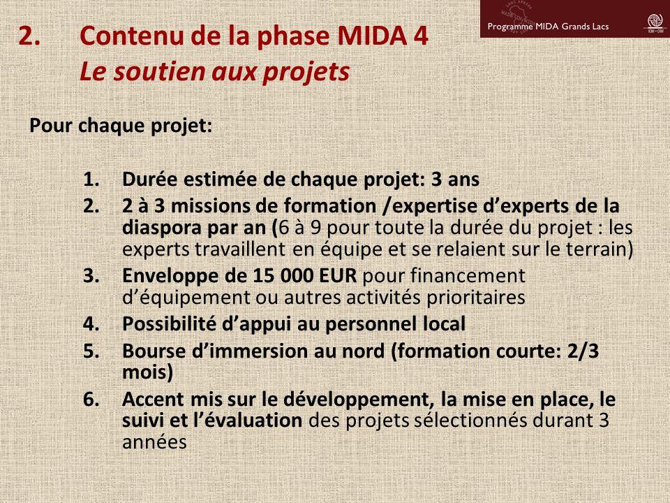 Contenu de la phase MIDA 4 Le soutien aux projets