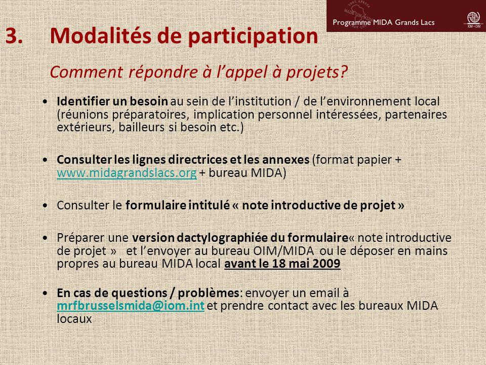 Modalités de participation Comment répondre à l'appel à projets