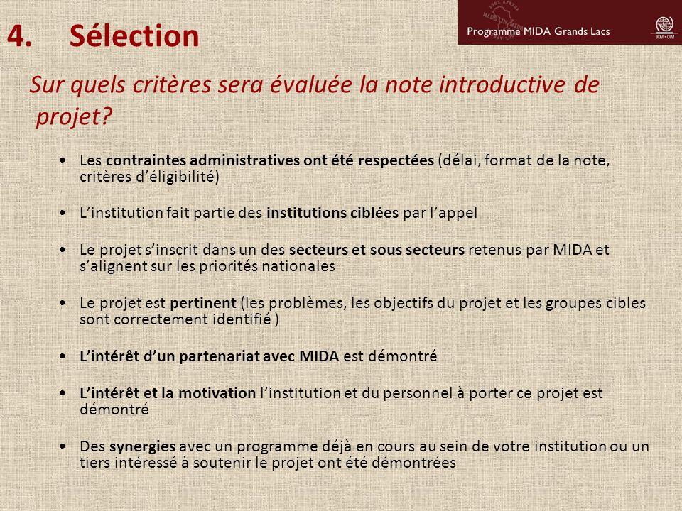 Sélection Sur quels critères sera évaluée la note introductive de projet