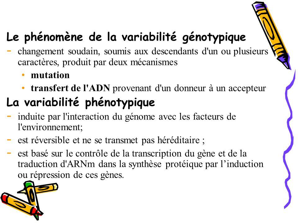 Le phénomène de la variabilité génotypique