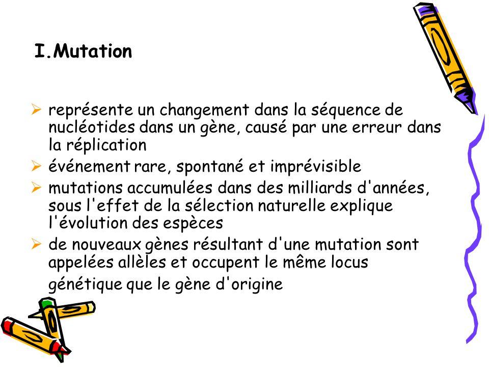 I.Mutation représente un changement dans la séquence de nucléotides dans un gène, causé par une erreur dans la réplication.