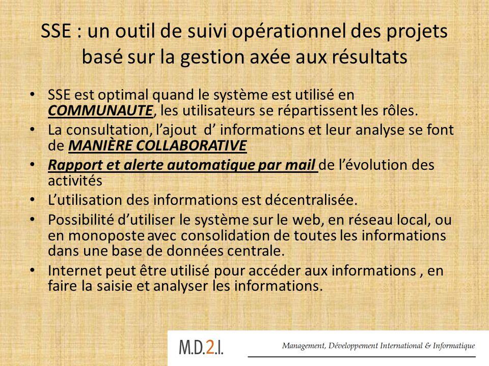 SSE : un outil de suivi opérationnel des projets basé sur la gestion axée aux résultats
