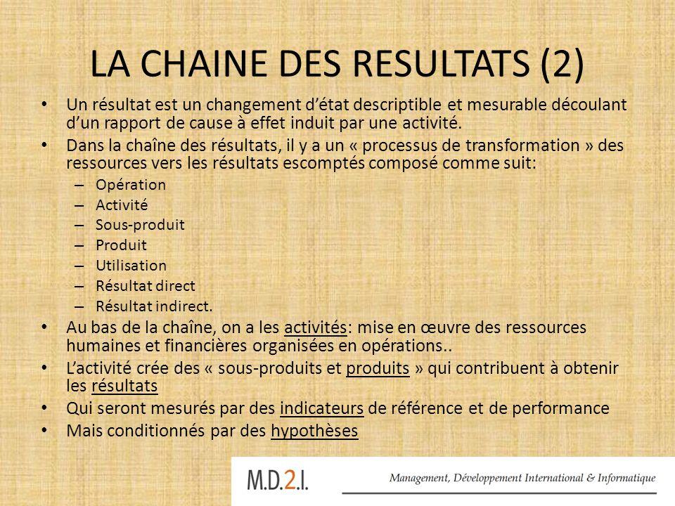 LA CHAINE DES RESULTATS (2)