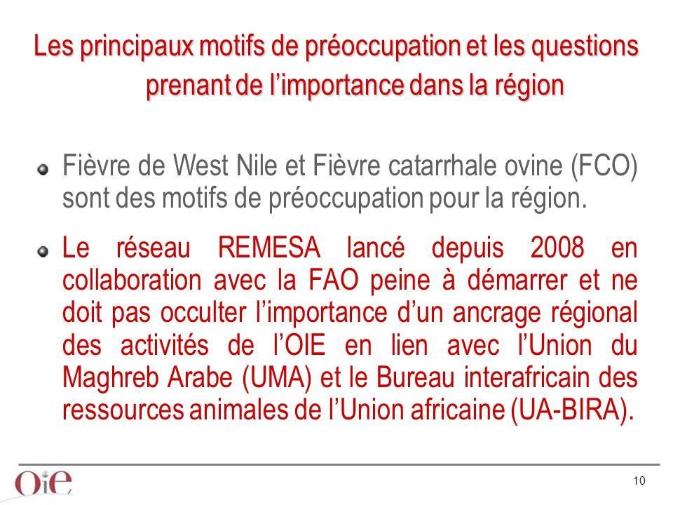Les principaux motifs de préoccupation et les questions prenant de l'importance dans la région