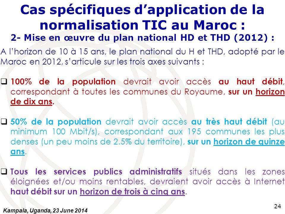 Cas spécifiques d'application de la normalisation TIC au Maroc : 2- Mise en œuvre du plan national HD et THD (2012) :