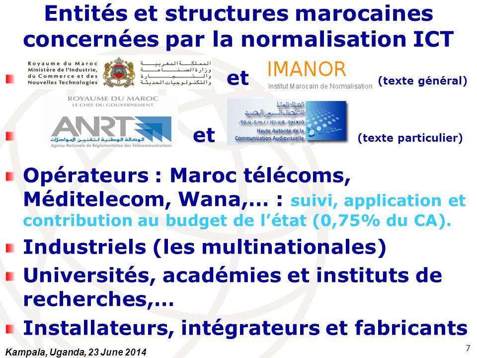 Entités et structures marocaines concernées par la normalisation ICT