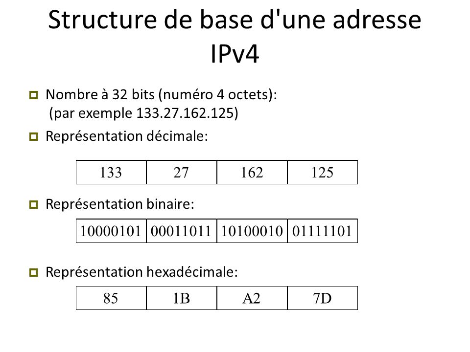 Structure de base d une adresse IPv4