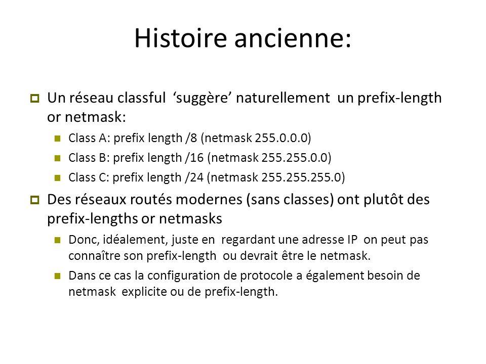 Histoire ancienne: Un réseau classful 'suggère' naturellement un prefix-length or netmask: Class A: prefix length /8 (netmask 255.0.0.0)