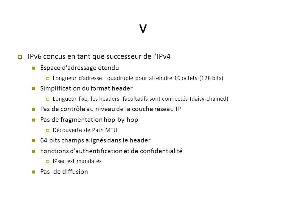 v IPv6 conçus en tant que successeur de l IPv4