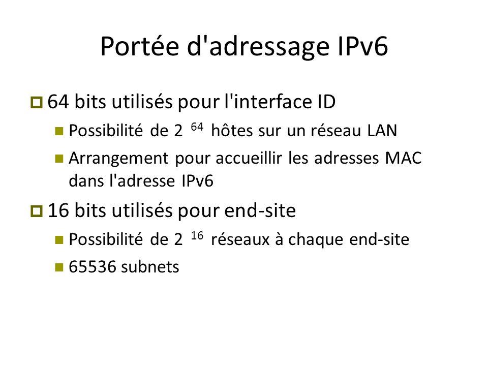 Portée d adressage IPv6 64 bits utilisés pour l interface ID