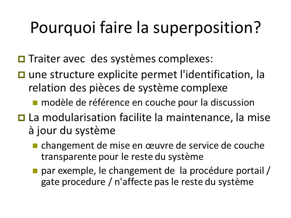 Pourquoi faire la superposition