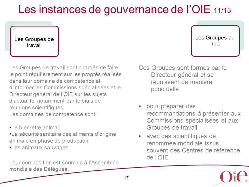 Les instances de gouvernance de l'OIE 11/13
