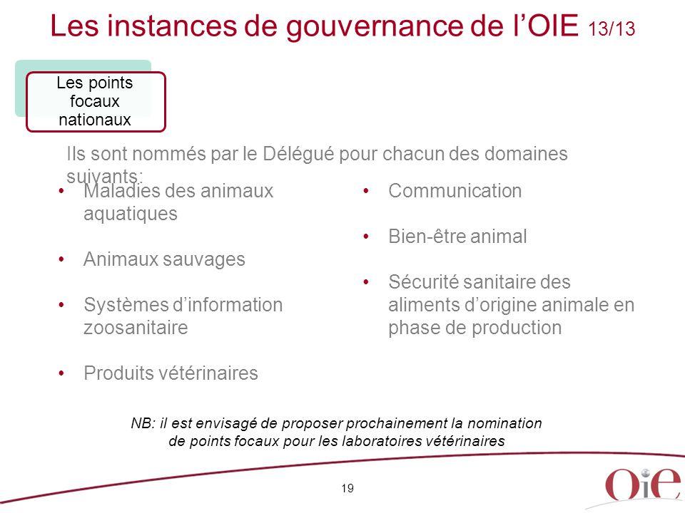 Les instances de gouvernance de l'OIE 13/13