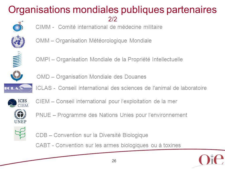 Organisations mondiales publiques partenaires 2/2