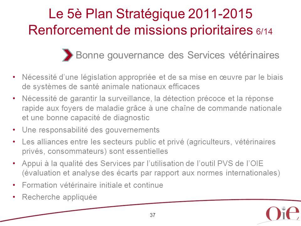 Le 5è Plan Stratégique 2011-2015 Renforcement de missions prioritaires 6/14