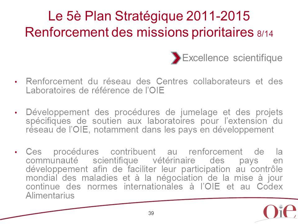 Le 5è Plan Stratégique 2011-2015 Renforcement des missions prioritaires 8/14