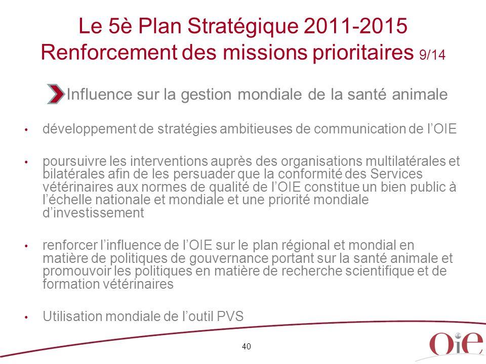 Le 5è Plan Stratégique 2011-2015 Renforcement des missions prioritaires 9/14