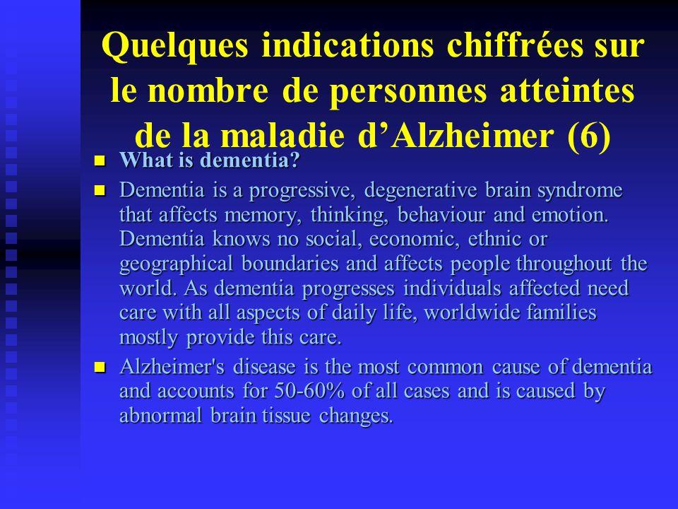 Quelques indications chiffrées sur le nombre de personnes atteintes de la maladie d'Alzheimer (6)