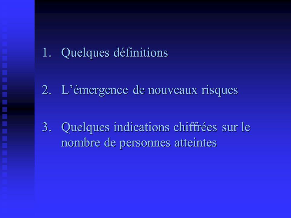 1. Quelques définitions 2. L'émergence de nouveaux risques.