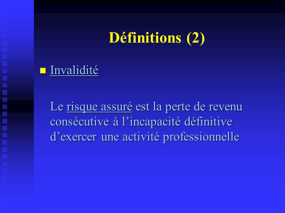 Définitions (2) Invalidité