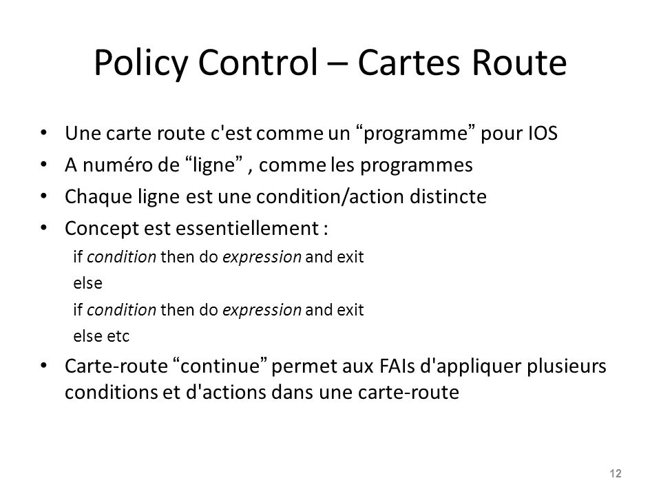 Policy Control – Cartes Route