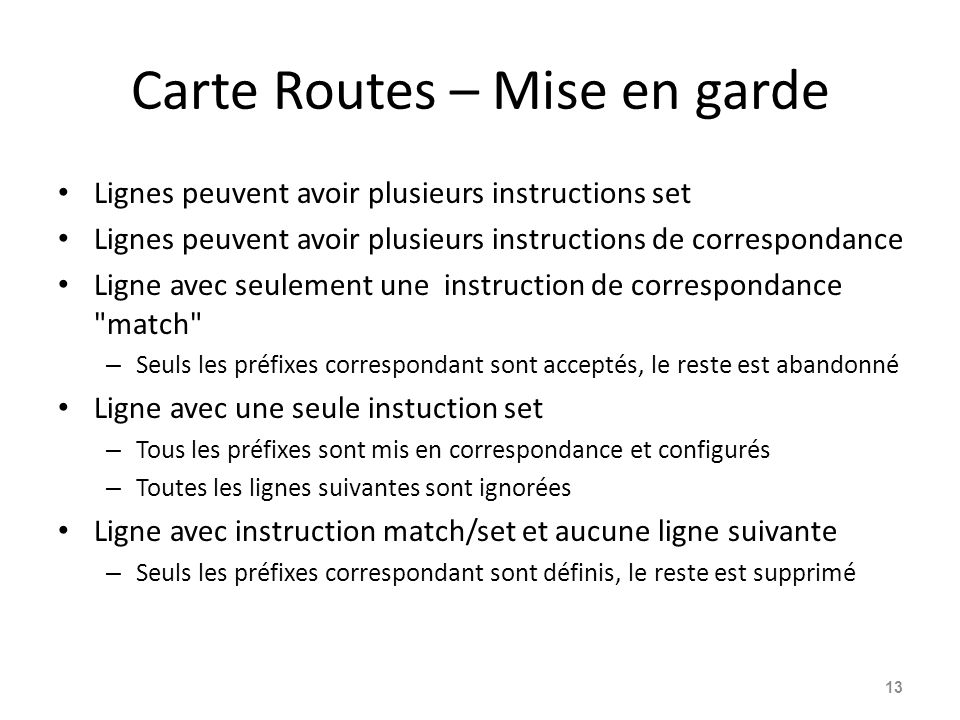 Carte Routes – Mise en garde