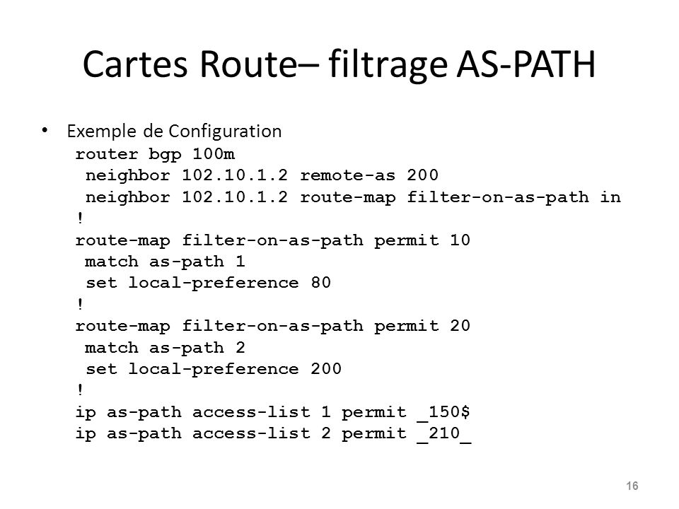 Cartes Route– filtrage AS-PATH