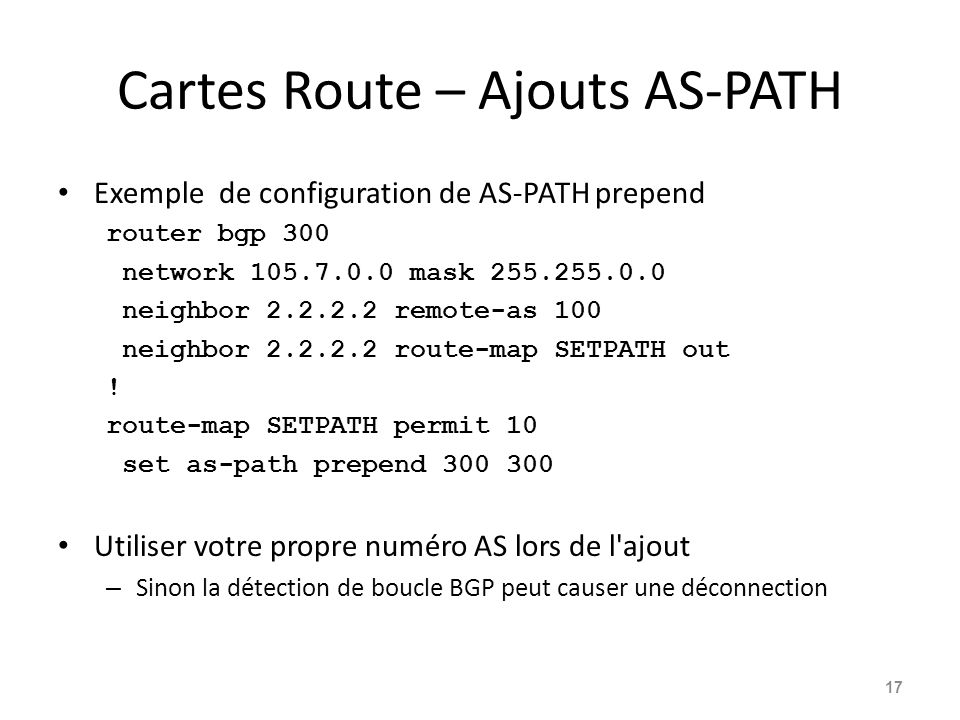 Cartes Route – Ajouts AS-PATH