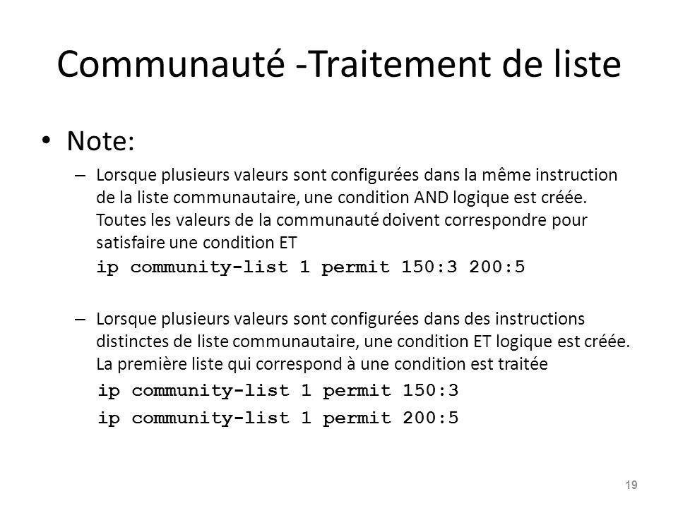 Communauté -Traitement de liste