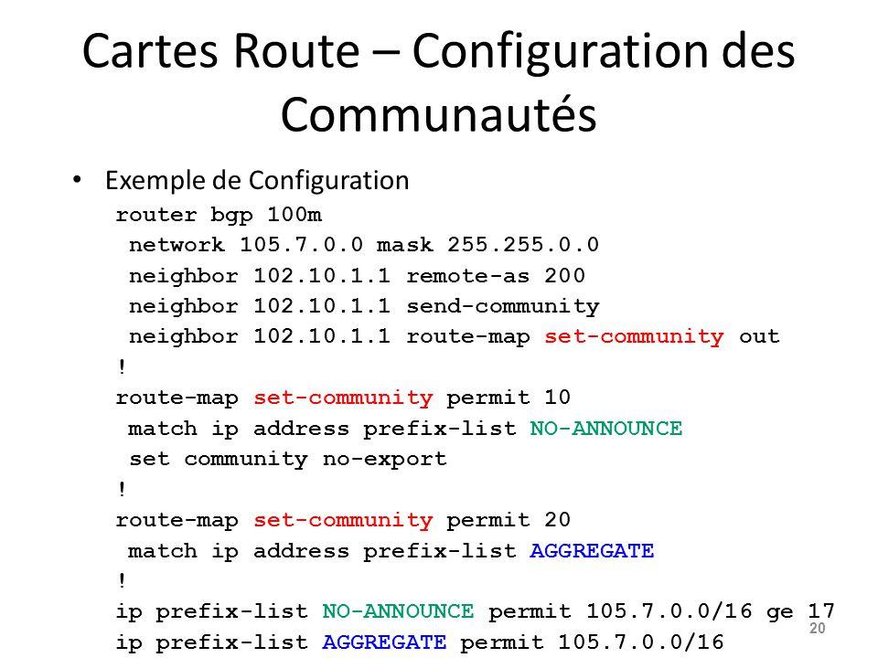 Cartes Route – Configuration des Communautés