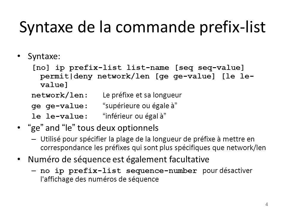Syntaxe de la commande prefix-list