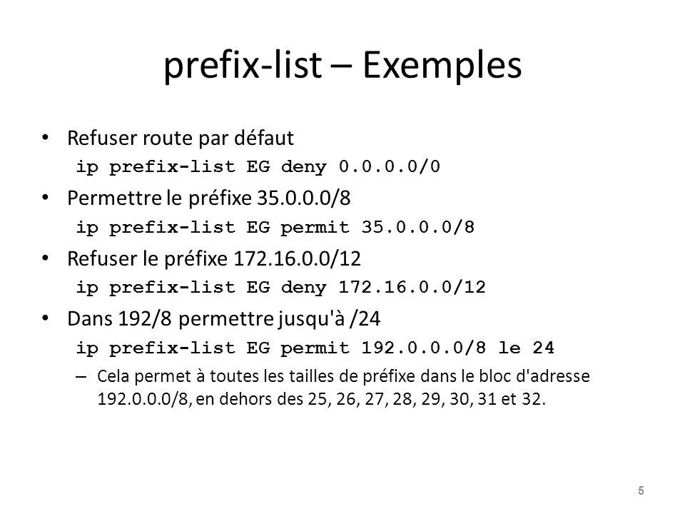 prefix-list – Exemples