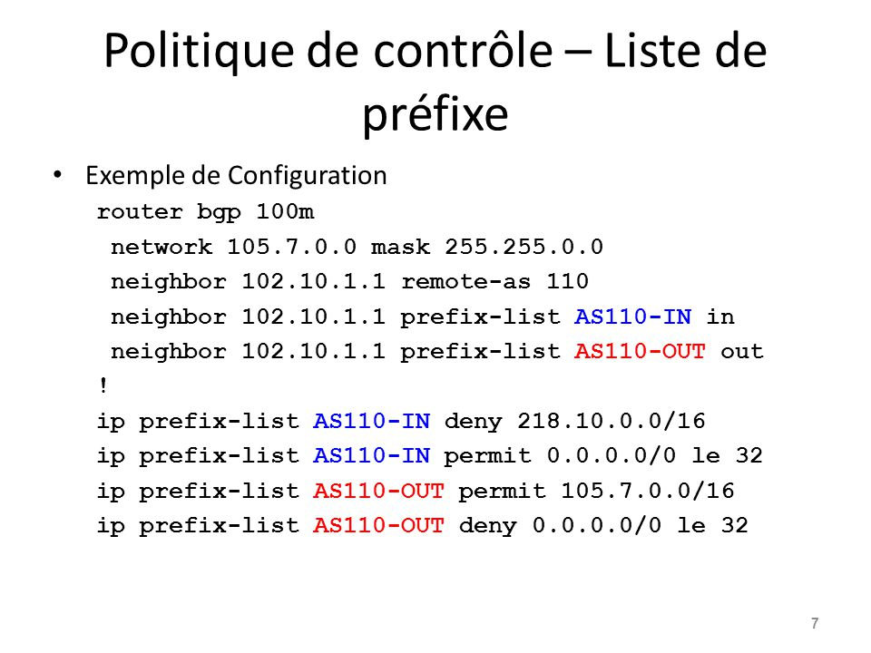 Politique de contrôle – Liste de préfixe