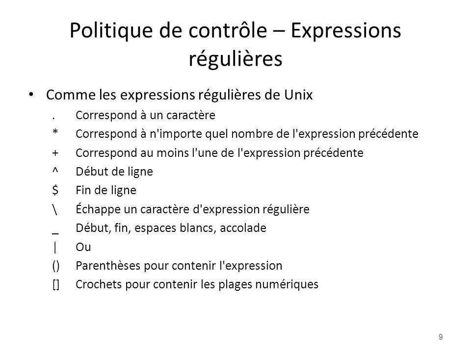 Politique de contrôle – Expressions régulières