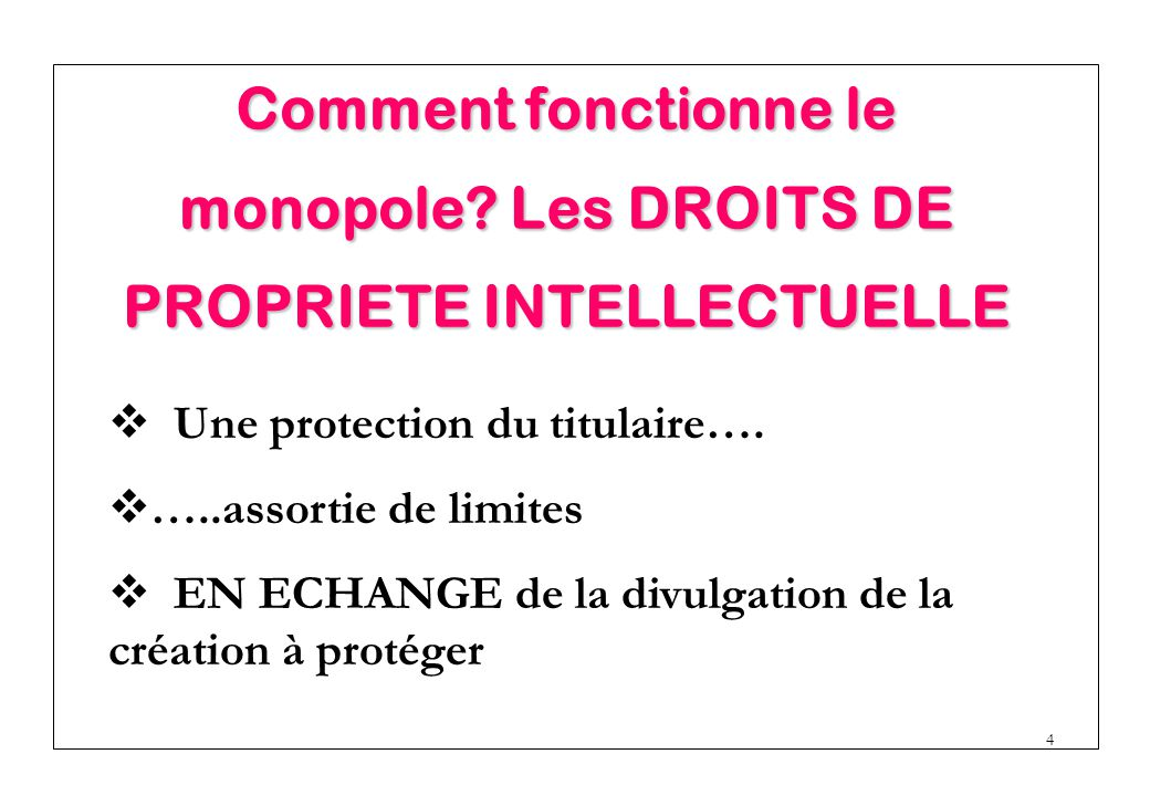 Comment fonctionne le monopole Les DROITS DE PROPRIETE INTELLECTUELLE