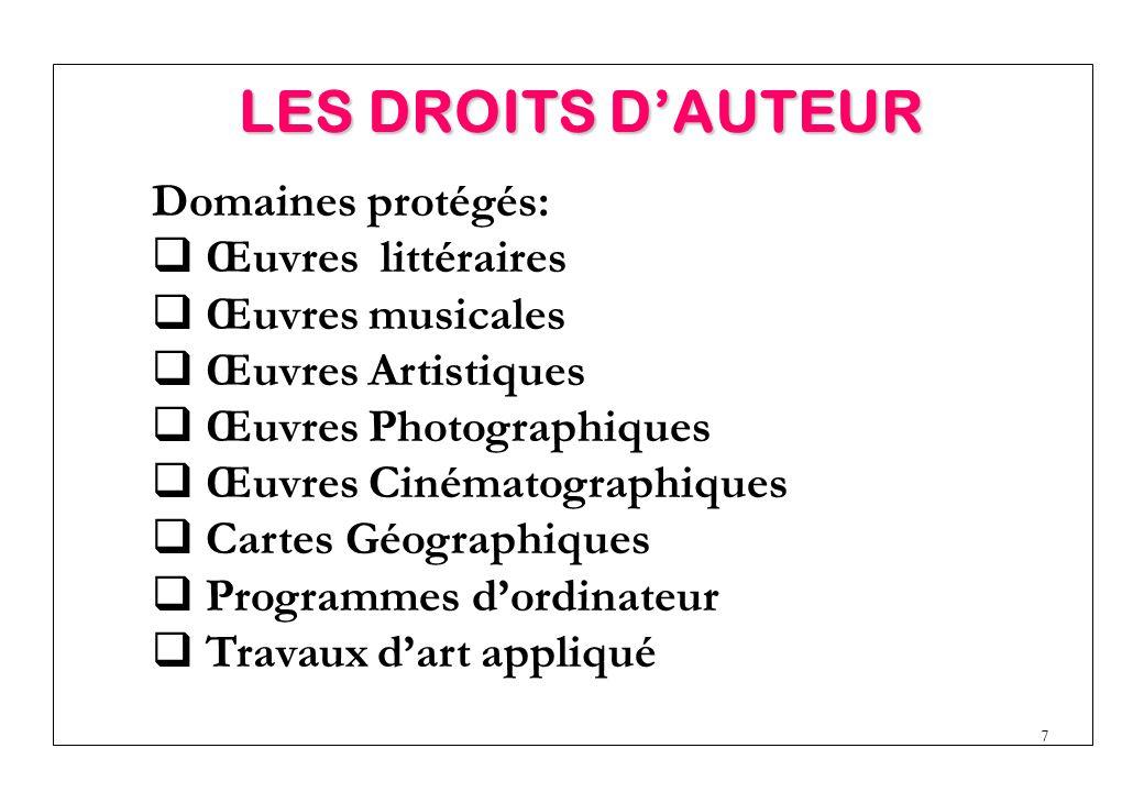 LES DROITS D'AUTEUR Domaines protégés: Œuvres littéraires
