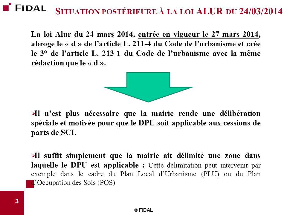 Situation postérieure à la loi ALUR du 24/03/2014
