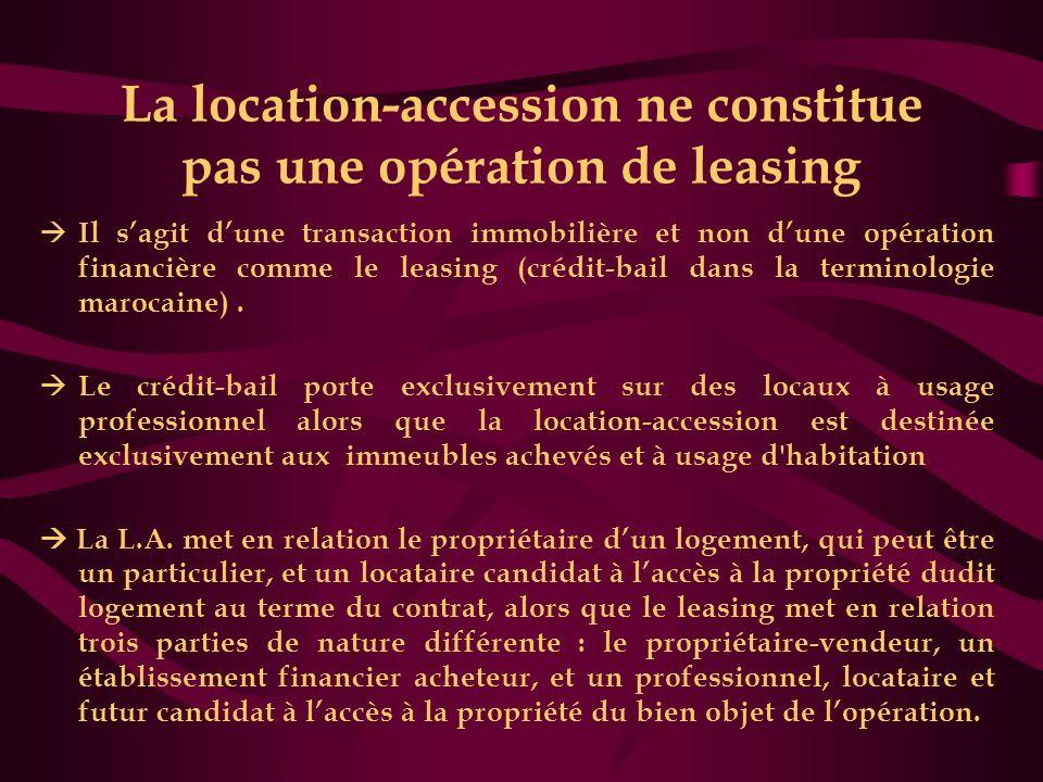 La location-accession ne constitue pas une opération de leasing