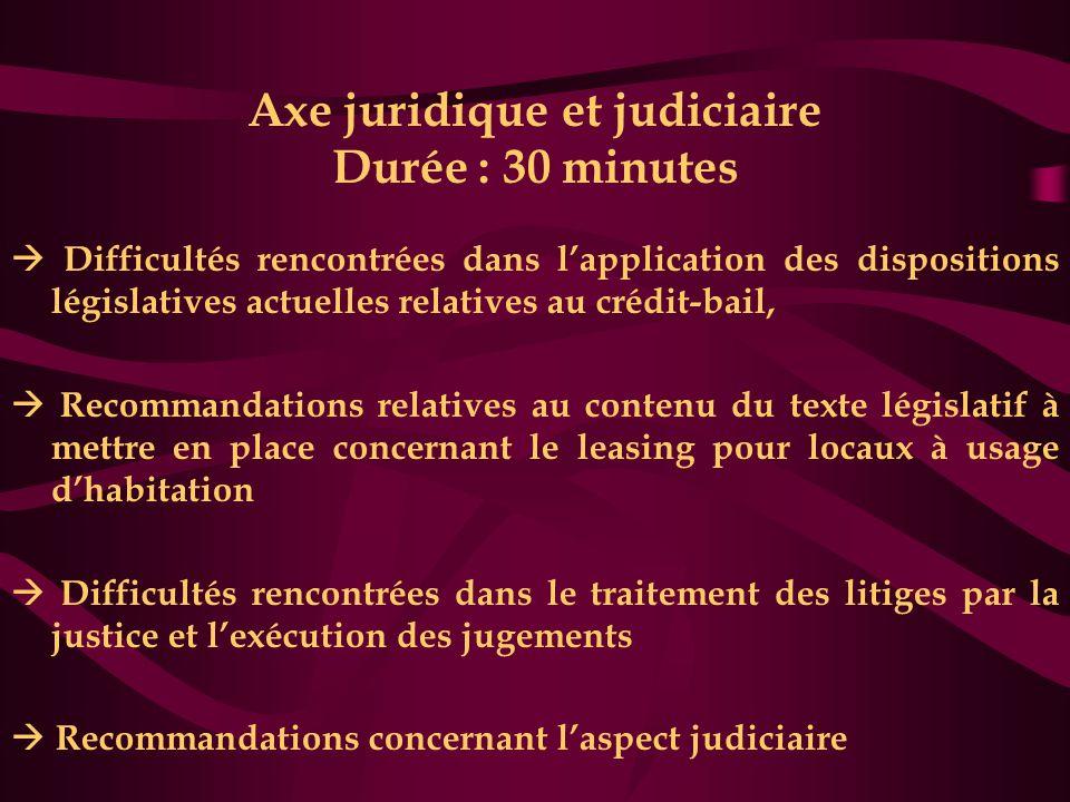 Axe juridique et judiciaire Durée : 30 minutes
