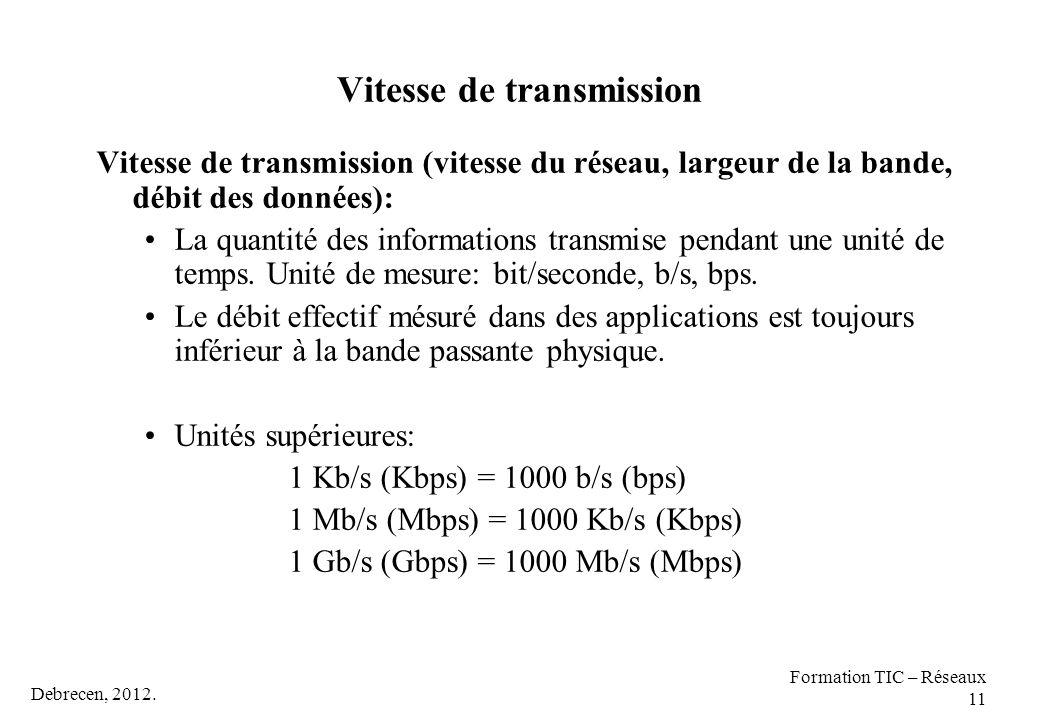 Vitesse de transmission