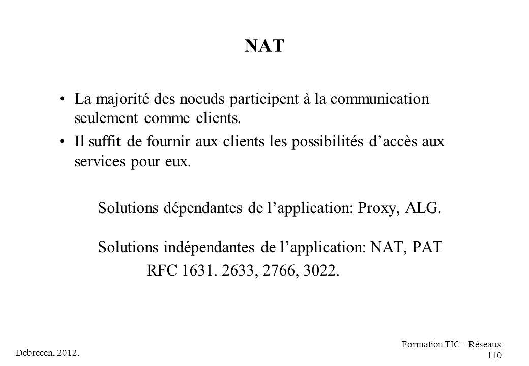 NAT La majorité des noeuds participent à la communication seulement comme clients.