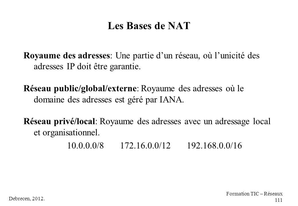 Les Bases de NAT Royaume des adresses: Une partie d'un réseau, où l'unicité des adresses IP doit être garantie.